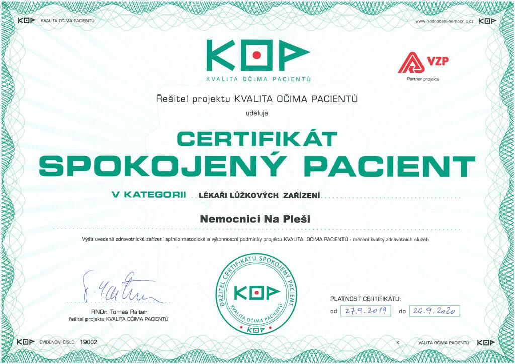 Certifikát KOP lékaři lůžkových zařízení