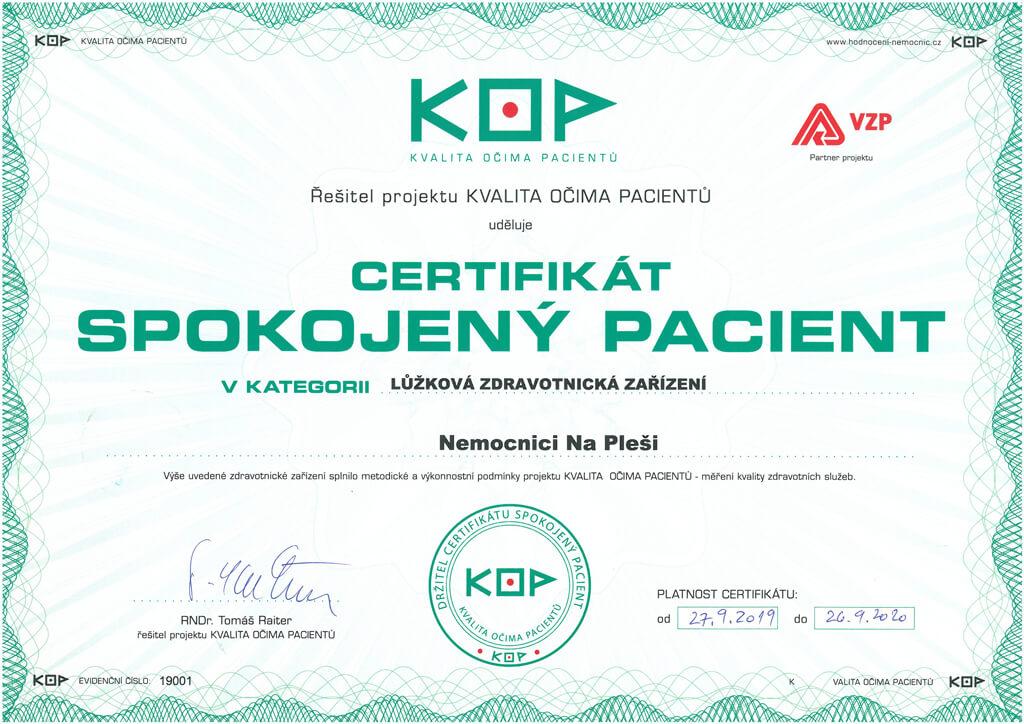 Certifikát KOP lůžková zdravotnická zařízení