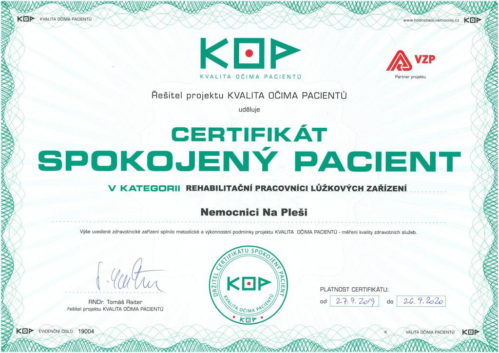 Certifikát KOP rehabilitační pracovníci lůžkových zařízení
