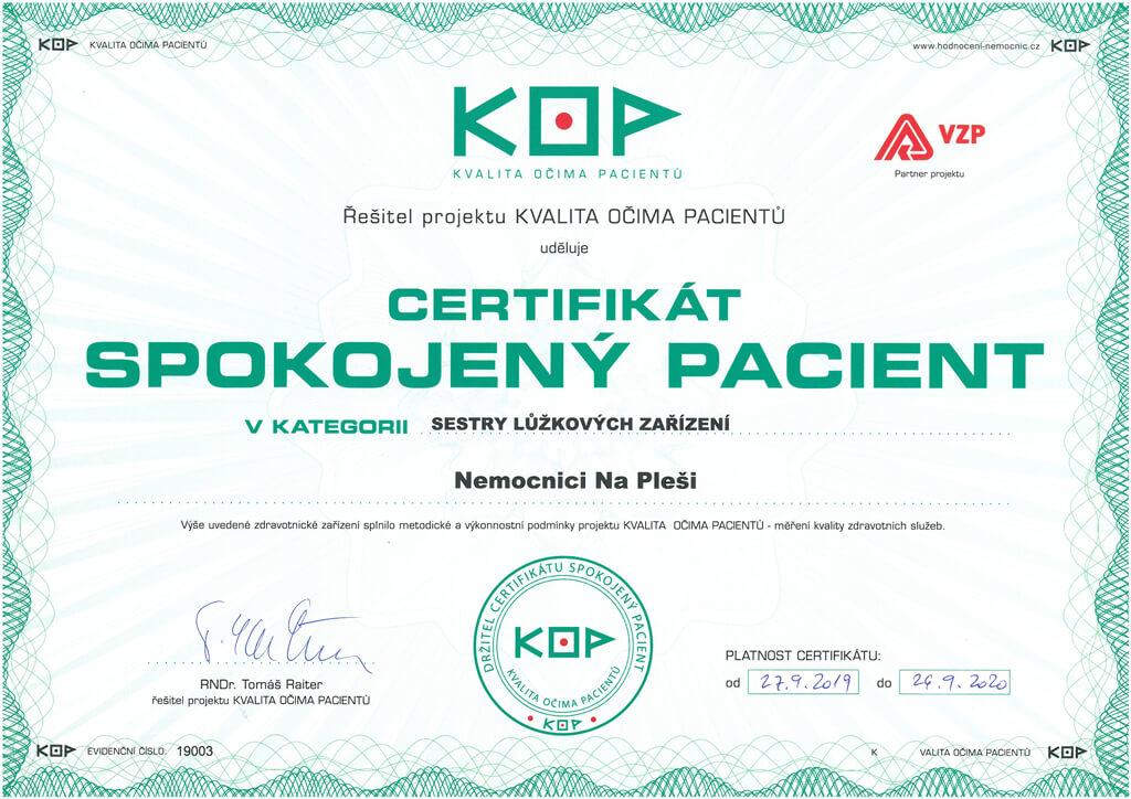 Certifikát KOP sestry lůžkových zařízení
