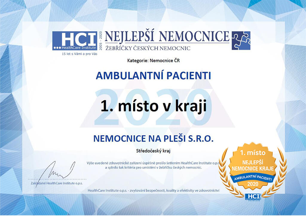 1. místo Nejlepší Nemocnice 2020 Ambulanctní pacienti