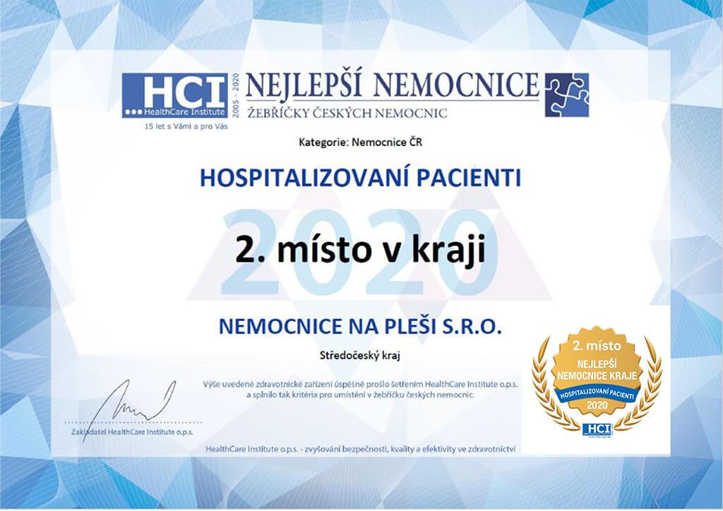 2. místo Nejlepší Nemocnice 2020 Hospitalizovaní pacienti